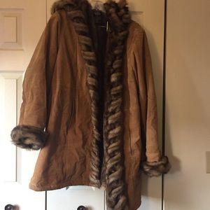 Dennis Basso genuine leather faux fur coat